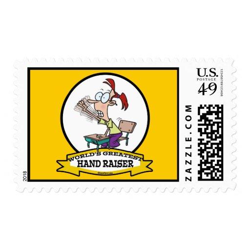 WORLDS GREATEST HAND RAISER CARTOON POSTAGE STAMPS