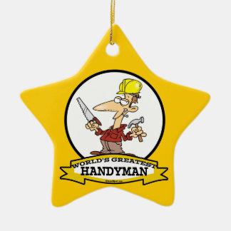 WORLDS GREATEST HANDYMAN MEN CARTOON CERAMIC ORNAMENT
