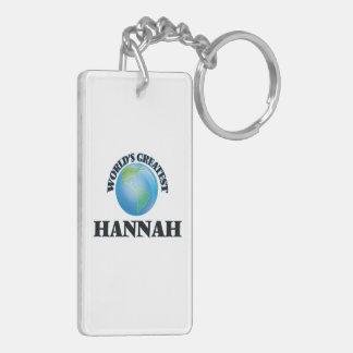 World's Greatest Hannah Double-Sided Rectangular Acrylic Keychain