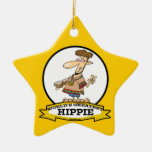 WORLDS GREATEST HIPPIE MEN CARTOON CHRISTMAS TREE ORNAMENTS