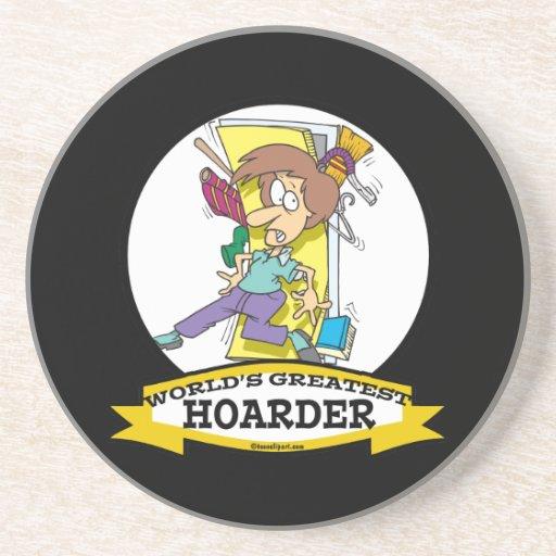 WORLDS GREATEST HOARDER WOMEN CARTOON COASTERS