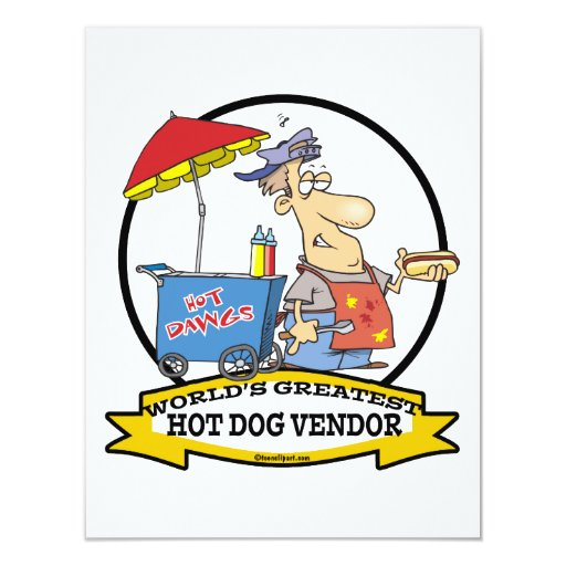WORLDS GREATEST HOT DOG VENDOR MEN CARTOON 4.25X5.5 PAPER INVITATION CARD