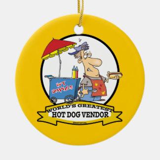 WORLDS GREATEST HOT DOG VENDOR MEN CARTOON CERAMIC ORNAMENT