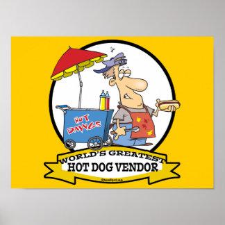 WORLDS GREATEST HOT DOG VENDOR MEN CARTOON POSTER