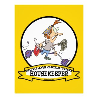 WORLDS GREATEST HOUSEKEEPER WOMEN CARTOON PERSONALIZED FLYER