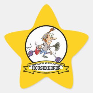 WORLDS GREATEST HOUSEKEEPER WOMEN CARTOON STAR STICKER