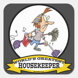 WORLDS GREATEST HOUSEKEEPER WOMEN CARTOON SQUARE STICKERS