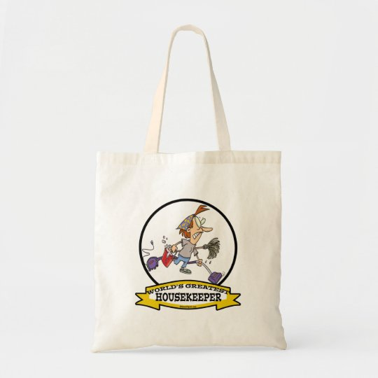 WORLDS GREATEST HOUSEKEEPER WOMEN CARTOON TOTE BAG