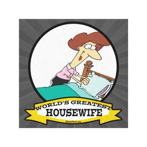 WORLDS GREATEST HOUSEWIFE WOMEN CARTOON CANVAS PRINT