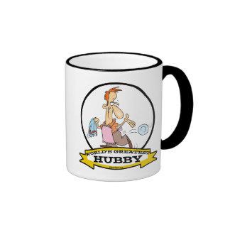 WORLDS GREATEST HUBBY MEN CARTOON RINGER COFFEE MUG
