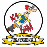 WORLDS GREATEST HUMAN CANNONBALL MEN CARTOON PHOTO CUT OUTS