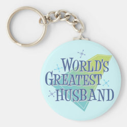 Basic Button Keychain with World's Greatest Husband design