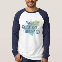 Men's Canvas Long Sleeve Raglan T-Shirt with World's Greatest Husband design