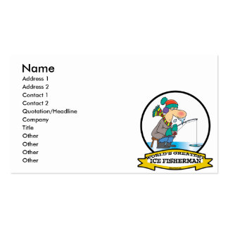 WORLDS GREATEST ICE FISHERMAN MEN CARTOON BUSINESS CARD TEMPLATES