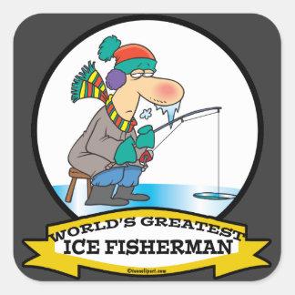 WORLDS GREATEST ICE FISHERMAN MEN CARTOON SQUARE STICKER