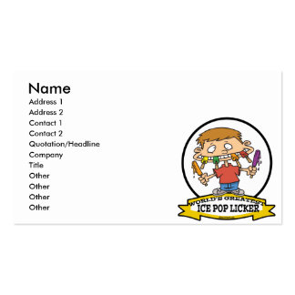 WORLDS GREATEST ICE POP LICKER CARTOON BUSINESS CARD