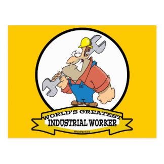 WORLDS GREATEST INDUSTRIAL WORKER MEN CARTOON POSTCARD