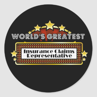 World's Greatest Insurance Claims Representative Classic Round Sticker