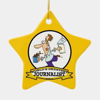 WORLDS GREATEST JOURNALIST II MEN CARTOON Double-Sided STAR CERAMIC CHRISTMAS ORNAMENT