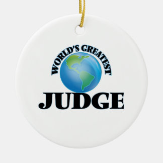 World's Greatest Judge Double-Sided Ceramic Round Christmas Ornament