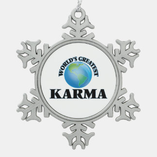 World's Greatest Karma Snowflake Pewter Christmas Ornament