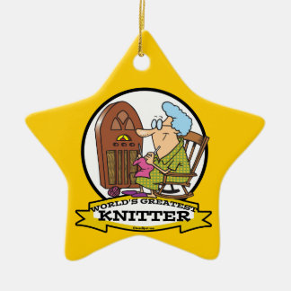 WORLDS GREATEST KNITTER CARTOON CERAMIC ORNAMENT