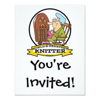 WORLDS GREATEST KNITTER CARTOON 4.25X5.5 PAPER INVITATION CARD