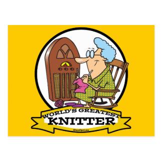 WORLDS GREATEST KNITTER CARTOON POSTCARD