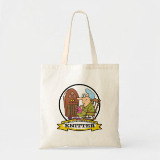 WORLDS GREATEST KNITTER CARTOON TOTE BAG