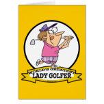 WORLDS GREATEST LADY GOLFER CARTOON GREETING CARD