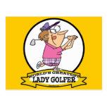 WORLDS GREATEST LADY GOLFER CARTOON POSTCARD