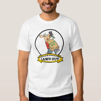 WORLDS GREATEST LAWN GUY MEN CARTOON TEE SHIRT
