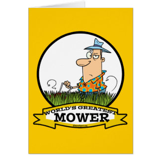 WORLDS GREATEST LAWN MOWER MEN CARTOON GREETING CARD
