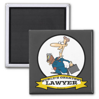 WORLDS GREATEST LAWYER II MEN CARTOON 2 INCH SQUARE MAGNET