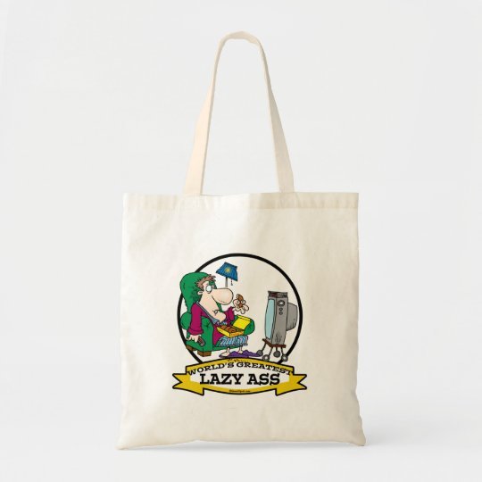 WORLDS GREATEST LAZY ASS CARTOON TOTE BAG