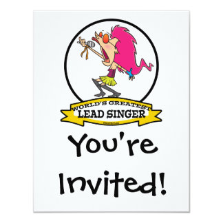 WORLDS GREATEST LEAD SINGER FEMALE CARTOON 4.25X5.5 PAPER INVITATION CARD