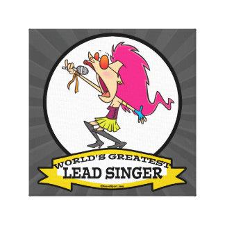 WORLDS GREATEST LEAD SINGER FEMALE CARTOON CANVAS PRINT
