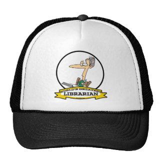 WORLDS GREATEST LIBRARIAN II CARTOON MESH HATS