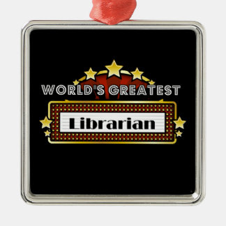 World's Greatest Librarian Square Metal Christmas Ornament