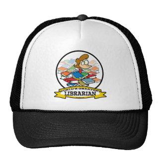 WORLDS GREATEST LIBRARIAN WOMEN CARTOON TRUCKER HATS