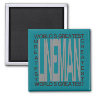 Worlds Greatest Lineman 2 Inch Square Magnet