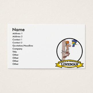 WORLDS GREATEST LINEMAN MEN CARTOON BUSINESS CARD
