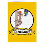 WORLDS GREATEST LINEMAN MEN CARTOON CARD