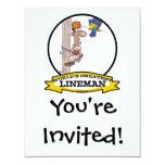 WORLDS GREATEST LINEMAN MEN CARTOON CUSTOM INVITATION