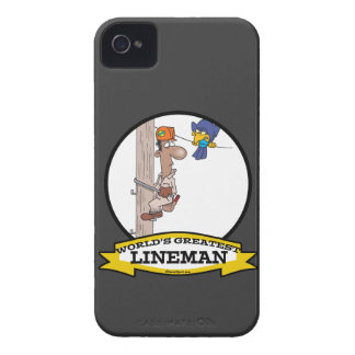 WORLDS GREATEST LINEMAN MEN CARTOON iPhone 4 Case-Mate CASES