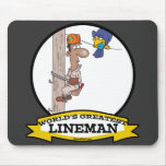WORLDS GREATEST LINEMAN MEN CARTOON MOUSE PAD