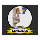 WORLDS GREATEST LINEMAN MEN CARTOON POSTER