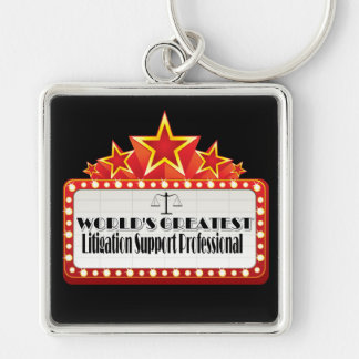 World's Greatest Litigation Support Professional Silver-Colored Square Keychain