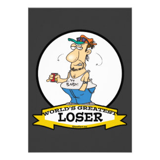 WORLDS GREATEST LOSER CARTOON PERSONALIZED ANNOUNCEMENTS