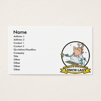 WORLDS GREATEST LUNCH LADY CARTOON BUSINESS CARD